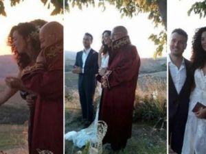 Dünya Güzeli Azra Akın evlendi, tarlada düğün yaptı!