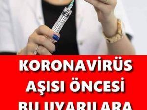 K'orona aşısı olacaklara hayati uyarı