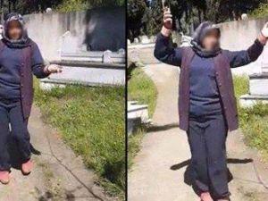 Mezarlıkta göbek atan kadın